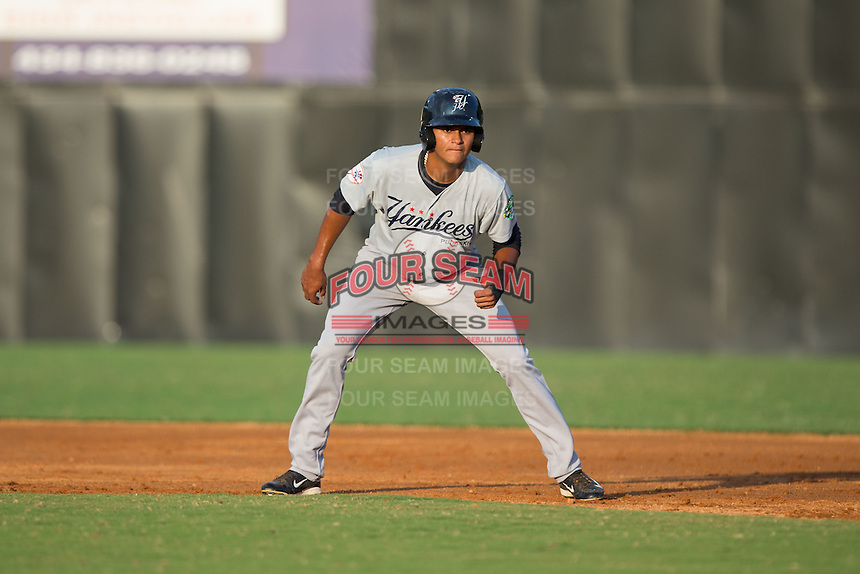 Leonardo Molina (71) of the Pulaski Yankees takes his lead off of first base against the Danville Braves at American Legion Post 325 Field on August 1, 2016 in Danville, Virginia.  The Yankees defeated the Braves 4-1.  (Brian Westerholt/Four Seam Images)