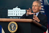 March 31, 2020 - Washington, DC, United States: National Institute of Allergy and Infectious Diseases(NIAID) Director Dr. Anthony Fauci participates in a news briefing by members of the Coronavirus Task Force at the White House. <br /> Credit: Chris Kleponis / Pool via CNP