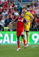 23 April 2011: Columbus Crew defender Chad Marshall #14 and Toronto FC forward Maicon Santos #29 in action during a game between the Columbus Crew and the Toronto FC at BMO Field in Toronto, Ontario Canada..The game ended in a 1-1 draw.