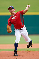 Phillip Pfeiffer #52 of Team Red in action against Team Blue during the USA 18U National Team Trials at the USA Baseball National Training Center on July 1, 2010, in Cary, North Carolina.  Photo by Brian Westerholt / Four Seam Images