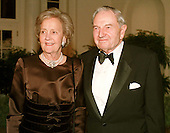 Mrs. Katherine H. Graham, Chairman of the Executive Committee, The Washington Post, and Mr. David Rockefeller, former Chairman, Chase Manhattan Bank, arrive at The White House in Washington, DC for the State Dinner honoring Chinese President Jiang Zemin October 29, 1997.<br /> Credit: Ron Sachs / CNP