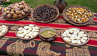 Peru, Urubamba Valley, Quechua Village of Misminay.  Cultural Tourism.  Villagers Display Local Agricultural  Products: Potatoes, Fava Beans, Cheese.