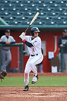 Lansing Lugnuts right fielder Dominic Abbadessa (1) during a Midwest League game against the Wisconsin Timber Rattlers at Cooley Law School Stadium on May 1, 2019 in Lansing, Michigan. Wisconsin defeated Lansing 8-3 after the game was suspended from the previous night. (Zachary Lucy/Four Seam Images)