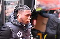 2nd November 2019; Vitality Stadium, Bournemouth, Dorset, England; English Premier League Football, Bournemouth Athletic versus Manchester United; Aaron Wan-Bissaka of Manchester United arrives at Vitality Stadium - Strictly Editorial Use Only. No use with unauthorized audio, video, data, fixture lists, club/league logos or 'live' services. Online in-match use limited to 120 images, no video emulation. No use in betting, games or single club/league/player publications