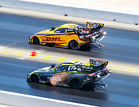 Jul 30, 2017; Sonoma, CA, USA; NHRA funny car driver Alexis DeJoria (near) races alongside teammate J.R. Todd during the Sonoma Nationals at Sonoma Raceway. Mandatory Credit: Mark J. Rebilas-USA TODAY Sports