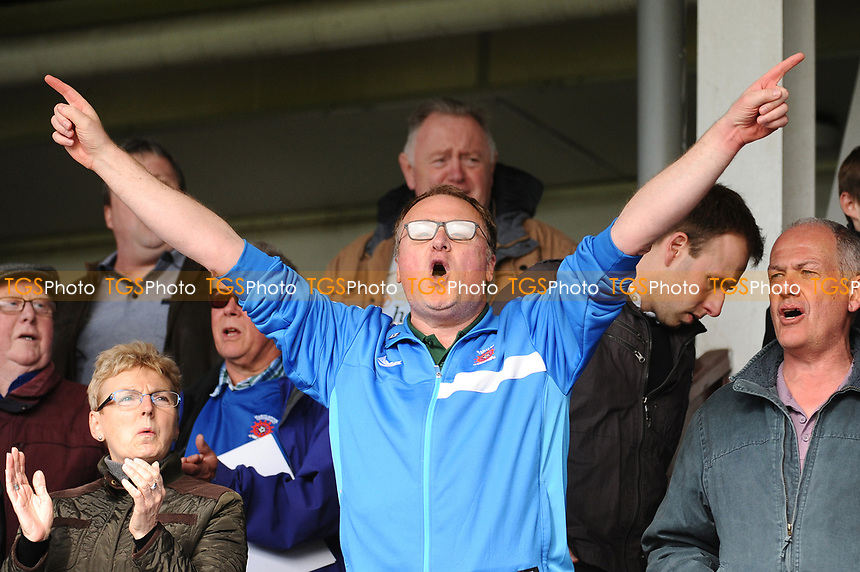 A Hartlepool United fan sings along to some pre match music during Hartlepool United vs Doncaster Rovers, Sky Bet EFL League 2 Football at Victoria Park on 6th May 2017