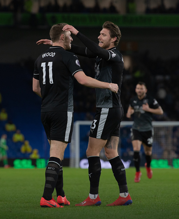Burnley's Chris Wood celebrates scoring his side's first goal with Burnley's Jeff Hendrick <br /> <br /> Photographer David Horton/CameraSport<br /> <br /> The Premier League - Brighton and Hove Albion v Burnley - Saturday 9th February 2019 - The Amex Stadium - Brighton<br /> <br /> World Copyright &copy; 2019 CameraSport. All rights reserved. 43 Linden Ave. Countesthorpe. Leicester. England. LE8 5PG - Tel: +44 (0) 116 277 4147 - admin@camerasport.com - www.camerasport.com