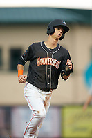 Jupiter Hammerheads Connor Scott (25) rounds the bases on a JJ Bleday (not shown) home run during a Florida State League game against the Lakeland Flying Tigers on August 12, 2019 at Roger Dean Chevrolet Stadium in Jupiter, Florida.  Jupiter defeated Lakeland 9-3.  (Mike Janes/Four Seam Images)