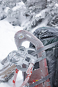 Snow covered backpack in extreme weather conditions along the Greenleaf Trail in the White Mountains, New Hampshire USA