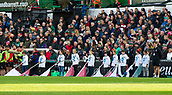 4th November 2017, Welford Road, Leicester, England; Anglo-Welsh Cup, Leicester Tigers versus Gloucester;  Bearers lower their flags in remembrance of fallen comrades