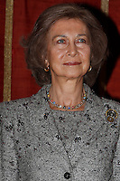 Queen Sofia of Spain attends the 25th Anniversary of the Contemporary Art Collection at Real Academia de Bellas Artes de San Fernando in Madrid, Spain. February 26, 2013. (ALTERPHOTOS/Pool) /NortePhoto
