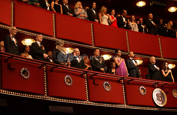 Washington, DC - December 6, 2009 -- United States President Barack Obama and first lady Michelle Obama join the 2009 Kennedy Center Honorees in the president's box at the John F. Kennedy Center for the Performing Arts in Washington, DC on Sunday, December 6, 2009 for the taping of the 2009 Kennedy Center Honors tribute program to be aired December 29th. Shown with the president and first lady are (l-r) Dave Brubeck, Robert DeNiro, Grace Bumbry, Mel Brooks, and Bruce Springsteen. At right are Vice President Joe Biden and granddaughter Ashley Biden.<br /> Credit: Martin H. Simon / Pool via CNP /MediaPunch