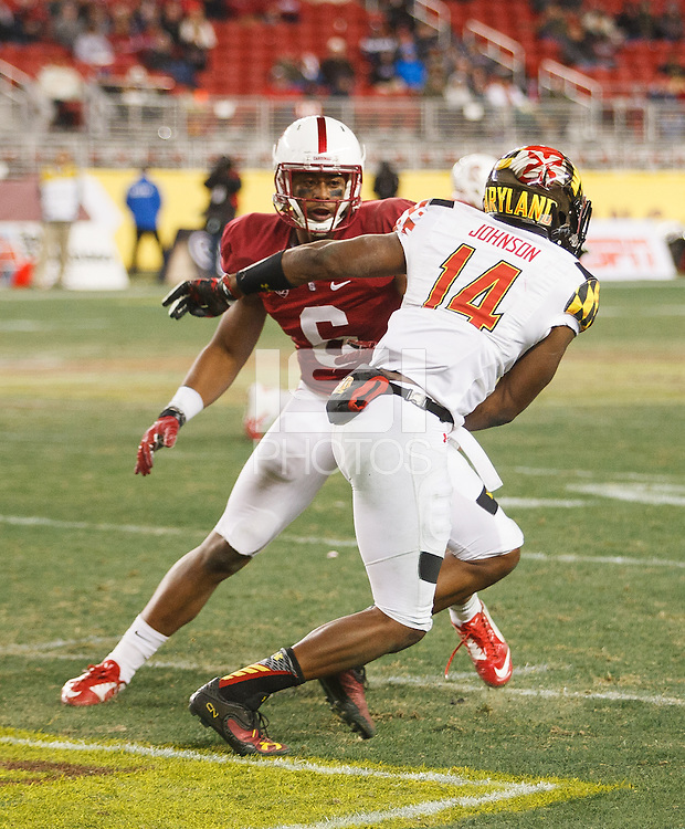 Santa Clara, CA -- December 30, 2014: Francis Owusu during the Stanford vs Maryland Foster Farms Bowl game at Levi's Stadium Tuesday evening.<br /> <br /> Stanford won 45 to 21.