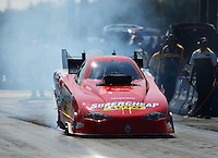 Sept. 21, 2012; Ennis, TX, USA: NHRA funny car driver Peter Russo during qualifying for the Fall Nationals at the Texas Motorplex. Mandatory Credit: Mark J. Rebilas-