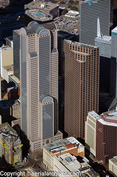 aerial photograph of Comerica Bank Tower and 1700 Pacific, Dallas, Texas