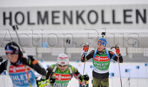 02.03.2016. Holmenkollen, Oslo, Norway.  Biathlete Simon Schempp of Germany (R) in action during a training session at the Biathlon World Championships, in the Holmenkollen Ski Arena, Oslo, Norway