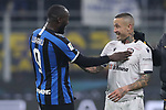 Romelu Lukaku of Inter jokes with fellow Belgian International team mate Radja Nainggolan of Cagliari after the final whistle of the Coppa Italia match at Giuseppe Meazza, Milan. Picture date: 14th January 2020. Picture credit should read: Jonathan Moscrop/Sportimage