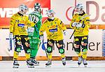 Stockholm 2014-12-19 Bandy Elitserien Hammarby IF - Broberg S&ouml;derhamn :  <br /> Broberg S&ouml;derhamns Martin S&ouml;derberg firar sitt 1-3 m&aring;l med Rolf Larsson och Vadim Arhipkin under matchen mellan Hammarby IF och Broberg S&ouml;derhamn <br /> (Foto: Kenta J&ouml;nsson) Nyckelord:  Elitserien Bandy Zinkensdamms IP Zinkensdamm Zinken Hammarby Bajen HIF Broberg S&ouml;derhamn jubel gl&auml;dje lycka glad happy