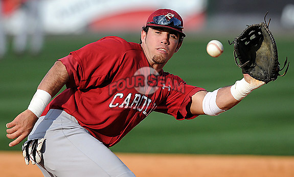 USC first baseman Nick Ebert (47) during a game between the Furman Paladins and South Carolina Gamecocks Tuesday, March 16, 2010, at Fluor Field at the West End in Greenville, S.C. Ebert is ranked No. 27 senior draft prospect in the nation by Baseball America. Photo by: Tom Priddy/Four Seam Images