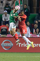 Bridgeview, IL, USA - Tuesday, October 11, 2016: Mexico defender Adrián Aldrete (16) and Panama defender Michael Amir Murillo (13) during an international friendly soccer match between Mexico and Panama at Toyota Park. Mexico won 1-0.