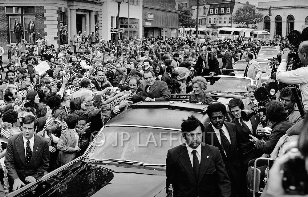 "October 23, 1972 - Westchester, New York, United States:  Richard Milhous Nixon and his wife, Thelma Catherine ""Pat"" Ryan Nixon, on the campaign trail in Nassau country New York. (JP Laffont / Polaris)"