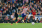 Atletico de Madrid´s Diego Costa (R) and  Chelsea´s Cesar Azpilicueta during Champions League semifinal first leg soccer match between Atletico de Madrid and Chelsea, at the Vicente Calderon stadium, in Madrid, Spain, April 22, 2014. (ALTERPHOTOS/Victor Blanco)