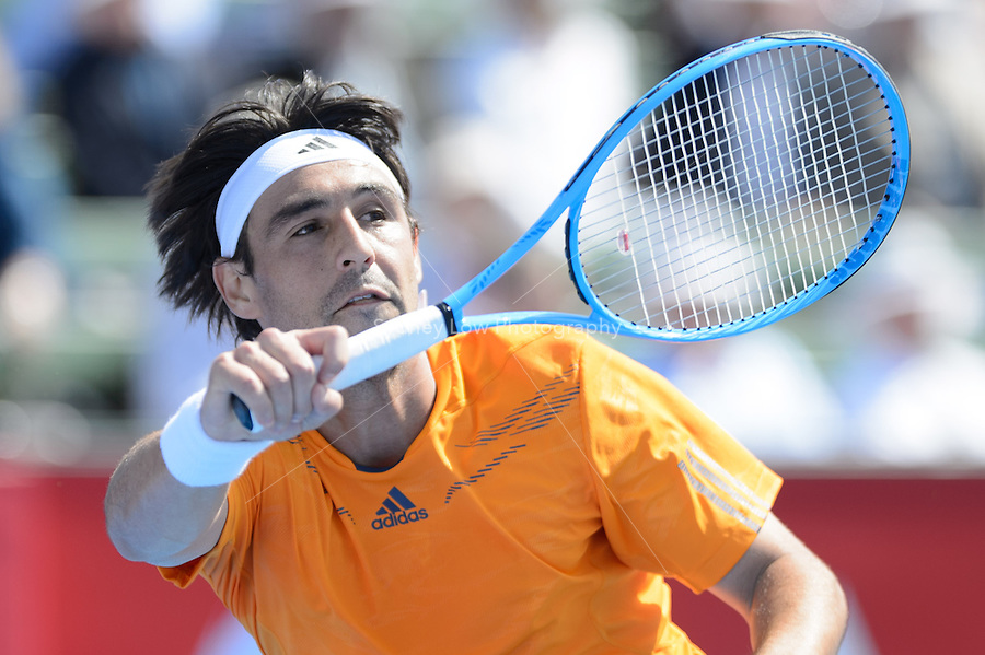 MELBOURNE, AUSTRALIA - JANUARY 09: MARCOS BAGHDATIS (CYP) in action against JANKO TIPSAREVIC (SER) on day 1 of the 2013 AAMI Classic event at the Kooyong Lawn Tennis Club in Melbourne, Australia.
