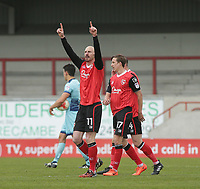 Kevin Ellison (L) of Morecambe celebrates scoring his goal against Wycombe Wanderers during the Sky Bet League 2 match between Morecambe and Wycombe Wanderers at the Globe Arena, Morecambe, England on 29 April 2017. Photo by Stephen Gaunt / PRiME Media Images.