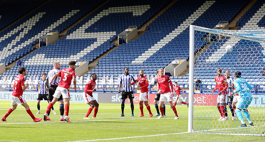 Sheffield Wednesday's Connor Wickham (left) scores his side's equalising goal to make the score 1 - 1 <br /> <br /> Photographer Rich Linley/CameraSport<br /> <br /> The EFL Sky Bet Championship - Sheffield Wednesday v Nottingham Forest - Saturday 20th June 2020 - Hillsborough - Sheffield <br /> <br /> World Copyright © 2020 CameraSport. All rights reserved. 43 Linden Ave. Countesthorpe. Leicester. England. LE8 5PG - Tel: +44 (0) 116 277 4147 - admin@camerasport.com - www.camerasport.com