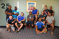 Members of the 2012 New Zealand Sevens squad pose for a group photo at the team hotel. NZ sevens team headshots at James Cook Hotel, Wellington on Thursday, 27 January 2011. Photo: Dave Lintott / lintottphoto.co.nz
