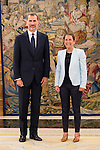 King Felipe VI of Spain and the President of the Government of Navarra, Miren Uxue Barcos Berruezo during Royal Audience at Zarzuela Palace in Madrid, July 28, 2015. <br /> (ALTERPHOTOS/BorjaB.Hojas)