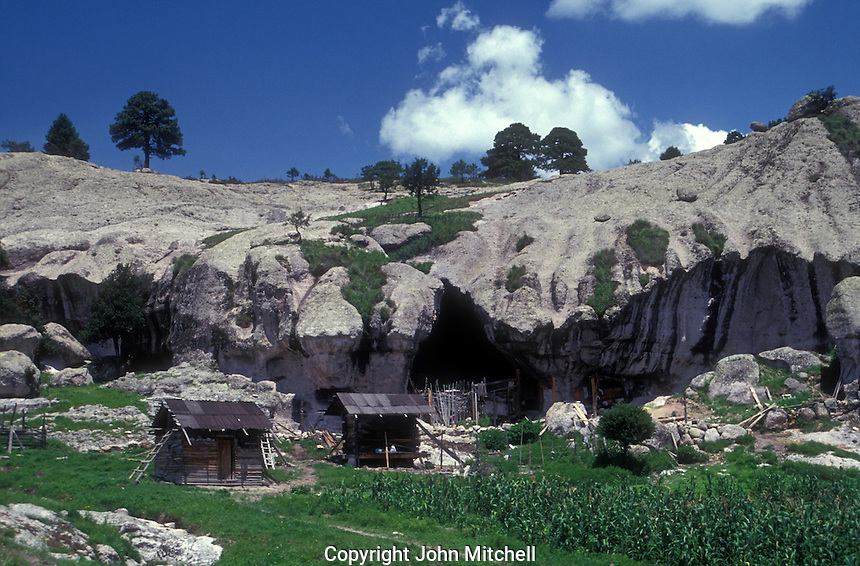 Typical Tarahumara dwellings and farm near Creel in the Copper Canyon region, Chihuahua, Mexico