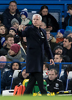 WBA Manager Alan Pardew during the Premier League match between Chelsea and West Bromwich Albion at Stamford Bridge, London, England on 12 February 2018. Photo by Andy Rowland.