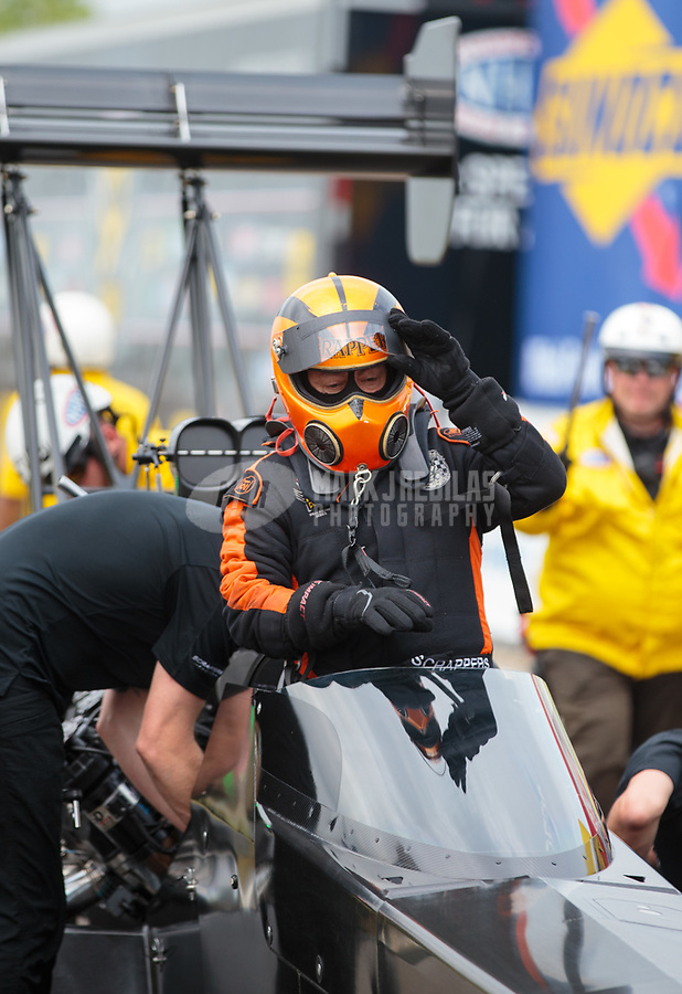 Apr 13, 2019; Baytown, TX, USA; NHRA top fuel driver Mike Salinas during qualifying for the Springnationals at Houston Raceway Park. Mandatory Credit: Mark J. Rebilas-USA TODAY Sports