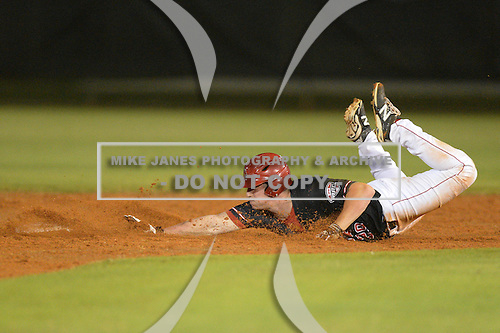 Ball State Cardinals first baseman Nick Hollowell (29) slides into second safely after tripping coming around first during a game against the Mississippi Valley State Delta Devils on February 21, 2014 at North Charlotte Regional Park in Port Charlotte, Florida.  Ball State defeated Mississippi Valley 12-1.  (Copyright Mike Janes Photography)