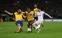 Tottenham Hotspur's Son Heung-Min is challenged by Giorgio Chiellini and Blaise Matuidi of Juventus<br /> <br /> Photographer Rob Newell/CameraSport<br /> <br /> UEFA Champions League Round of 16 Second Leg - Tottenham Hotspur v Juventus - Wednesday 7th March 2018 - Wembley Stadium - London <br />  <br /> World Copyright &copy; 2017 CameraSport. All rights reserved. 43 Linden Ave. Countesthorpe. Leicester. England. LE8 5PG - Tel: +44 (0) 116 277 4147 - admin@camerasport.com - www.camerasport.com