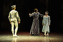 London, UK. 10.06.2014. Tamara Rojo and Carlos Acosta, from English National Ballet, in dress rehearsal for ROMEO AND JULIET, in the round, in the Royal Albert Hall. Picture shows: Daniele Silingardi (Paris), James Streeter (Lord Capulet) and Tamara Rojo (Juliet). Photograph © jane Hobson.