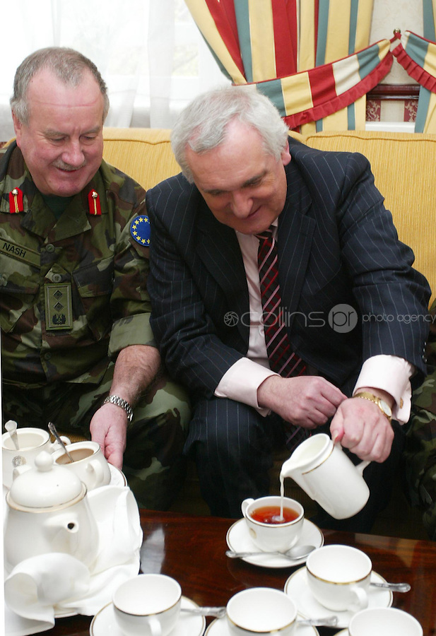 04/04/2008.Lieutenant General Pat Nash, the Operational Commander of EUFOR Chad Mission &.An Taoiseach Bertie Ahern, TD during a meeting between the two at McKee Barracks, Blackhorse Ave, Dublin..Photo: Gareth Chaney Collins
