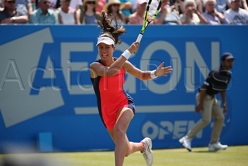 June 17th 2017, Nottingham, England;WTA Aegon Nottingham Open Tennis Tournament day 6;  Running forehand from Johanna Konta of Great Britain in the semi final against Magdalena Rybarikova of The Slovak Republic