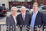 Colin Lacey congratulated by Padraig Kennelly Senior and Padraig Kennelly Junior on being appointed editor of Kerry's Eye newspaper