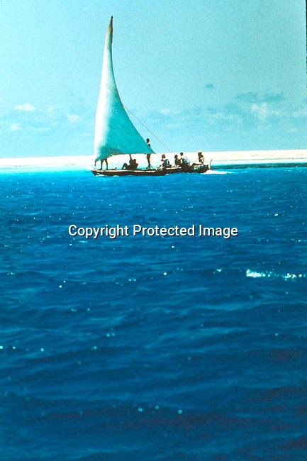 COTANZA35013 .Tanzania Zanzibar. Dhow in blue water..©Per-Anders Petterson/iAfrika Photos