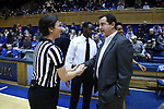 DURHAM, NC - DECEMBER 29: Duke special assistant Jim Corrigan (right) and referee Meadow Overstreet (left). The Duke University Blue Devils hosted the Liberty University Flames on December 29, 2017 at Cameron Indoor Stadium in Durham, NC in a Division I women's college basketball game. Duke won the game 68-51.