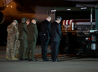 Members of the Official Party, including Governor John Carney (Democrat of Delaware), Sergeant Major of the United States Marine Corps Ronald Green, US Marine Corps General Robert B. Neller, Commandant of the Marine Corps, acting US Secretary of Defense Patrick M. Shanahan, and US Air Force Colonel Matthew Jones, 436th Airlift Wing, Vice Commander, pay their respects during the Dignified Transfer of the transfer case containing the remains of United States Marine Corps Staff Sergeant Christopher A. Slutman at Dover Air Force Base in Dover, Delaware on April 11, 2019.Members of the Official Party, including Governor John Carney (Democrat of Delaware), Sergeant Major of the United States Marine Corps Ronald Green, US Marine Corps General Robert B. Neller, Commandant of the Marine Corps, acting US Secretary of Defense Patrick M. Shanahan, and US Air Force Colonel Matthew Jones, 436th Airlift Wing, Vice Commander, pay their respects during the Dignified Transfer of the transfer case containing the remains of United States Marine Corps Staff Sergeant Christopher A. Slutman at Dover Air Force Base in Dover, Delaware on April 11, 2019. He died as the result of a road-side bomb in Afghanistan on April 8, 2019.  Staff Sergeant Slutman, a decorated 15 year veteran of the Fire Department of New York (FDNY), was married and had three children. Photo Credit: Ron Sachs/CNP/AdMedia