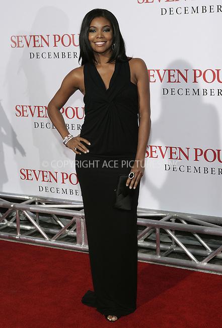 WWW.ACEPIXS.COM . . . . . ....December 16 2008, LA....Actress Gabrielle Union at the premiere of Columbia Pictures' 'Seven Pounds' at Mann's Village Theatre on December16, 2008 in Hollywood, California.....Please byline: JOE WEST- ACEPIXS.COM.. . . . . . ..Ace Pictures, Inc:  ..(646) 769 0430..e-mail: info@acepixs.com..web: http://www.acepixs.com