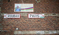 Roubaix - Paris<br /> Little memorial plaque along the route in Troisville in honor of the 'founder' of the modern Paris-Roubaix: Jean Stablinski.<br /> <br /> 113th Paris-Roubaix 2015
