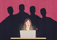 Sinister male shadows behind woman using laptop