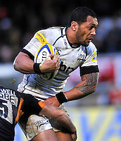 High Wycombe, England. Jonny Leota of Sale Sharks in action during the Aviva Premiership match between London Wasps and Sale Sharks at Adams Park on December 23. 2012 in High Wycombe, England.