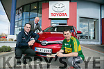 Jerry O'Sullivan presents  a new Toyota  Auris  to  Kerry Hurling Captain  and Kellihers Toyota Ambassador John Griffin on Monday here with Tom O'Connor