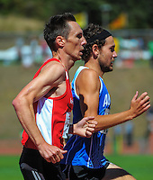Nick Willis shadows Ben Moynihan in the men's 1500m final on day three of the 2015 National Track and Field Championships at Newtown Park, Wellington, New Zealand on Sunday, 8 March 2015. Photo: Dave Lintott / lintottphoto.co.nz