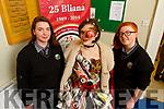The Odds and Ends creation at the Gaelcolaiste Chairrai showing their creations for the Junk Koture at the school on Tuesday.<br /> L to r: Megan Ní Fhearnáie (creator), Faith Peskett and Mairead Ní Fhaoláin.